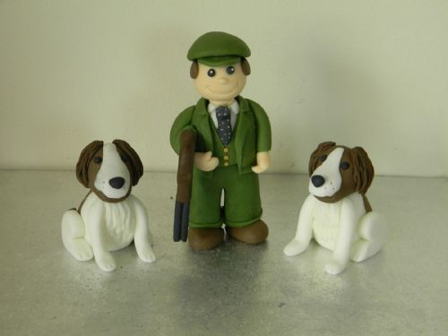 Shooting Hunting Man & 2 Dogs Cake Toppers